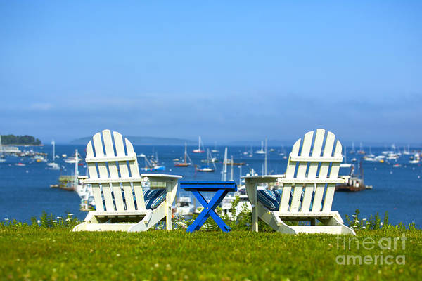 Adirondacks Photograph - Adirondack Chairs Overlooking The Ocean by Diane Diederich