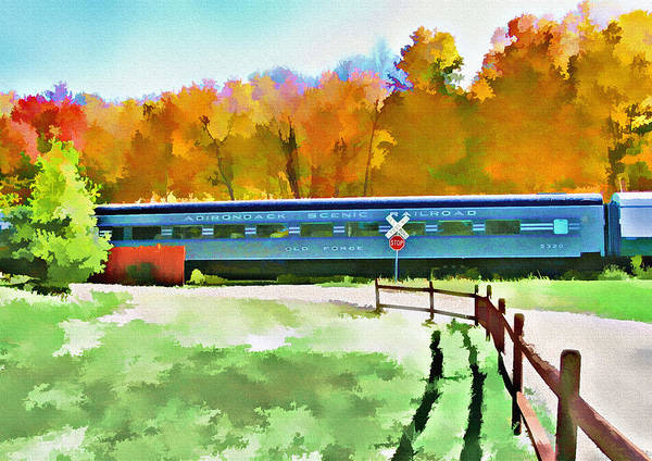 Wall Art - Photograph - Adirondack Scenic Railroad - Watercolor by Steve Ohlsen
