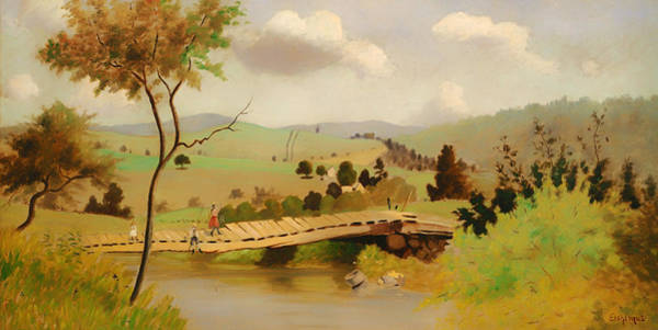 Adirondack Mountains Painting - Adirondacks Bridge For Fishing by Mountain Dreams