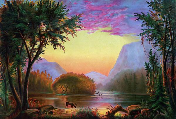 Adirondack Mountains Painting - Adirondacks Sunset by Granger