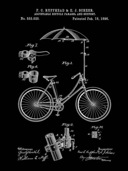 Wall Art - Digital Art - Adjustable Bike Patent 1896 - Black by Stephen Younts