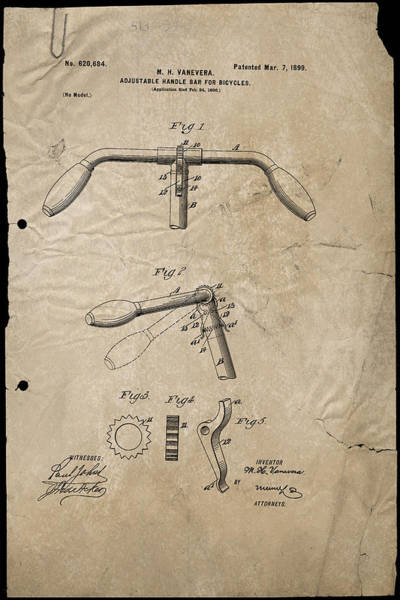 Digital Art - Adjustable Handlebar For Bicycles Patent 1899 by Paulette B Wright
