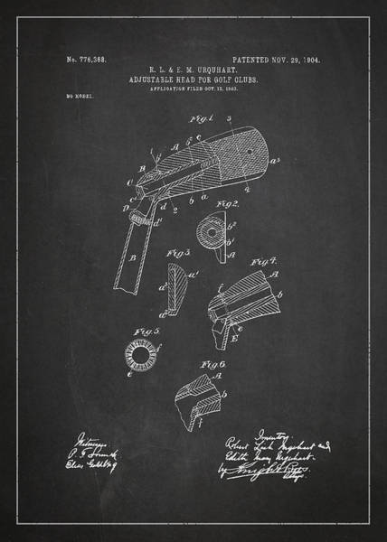 Wall Art - Digital Art - Adjustable Head For Golf Clubs Patent Drawing From 1904 by Aged Pixel