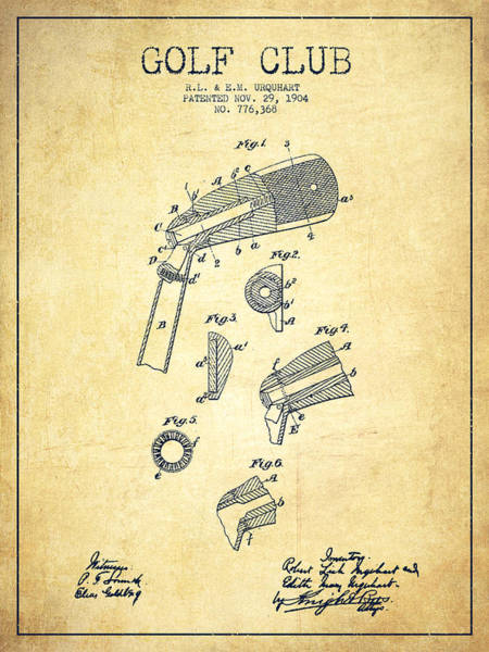 Pga Digital Art - Adjustable Head For Golf Clubs Patent Drawing From 1904 - Vintag by Aged Pixel