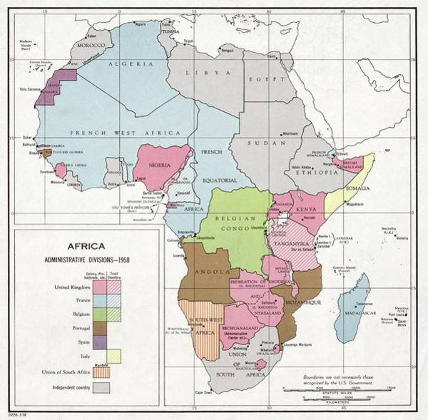 United States Territory Photograph - Administrative Divisions Of Africa by Library Of Congress, Geography And Map Division
