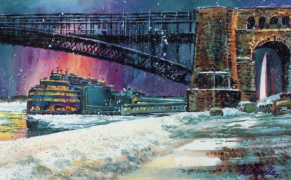 St Louis Arch Painting - Admiral And Eads Bridge by Marilynne Bradley