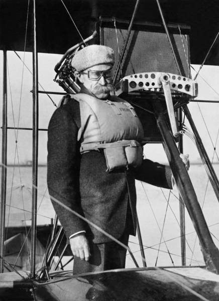 Moustache Photograph - Admiral Peary Goes Flying by Underwood Archives