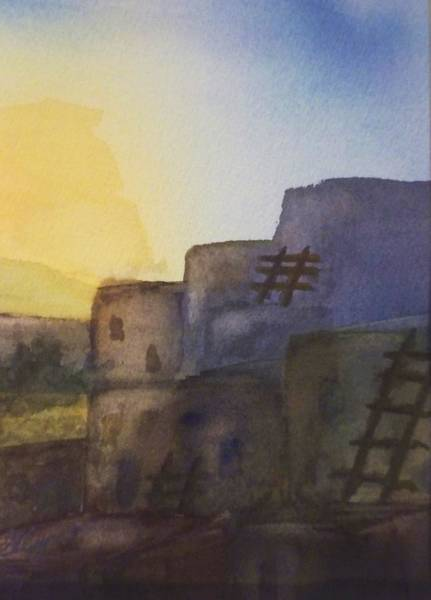 Adobe Walls Painting - Adobe Dwellings by Ellen Levinson