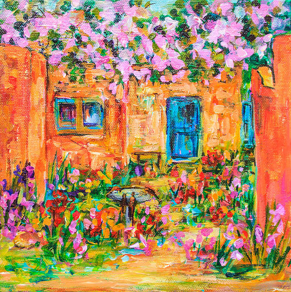 Adobe With Pink Flowers Art Print