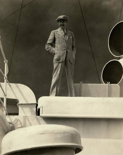Boat Photograph - Adolphe Menjou On The Deck Of A Ship by Edward Steichen