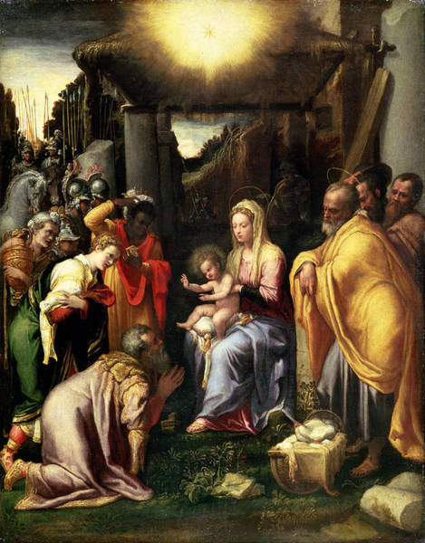 Kneeling Painting - Adoration Of The Kings by Taddeo Zuccaro