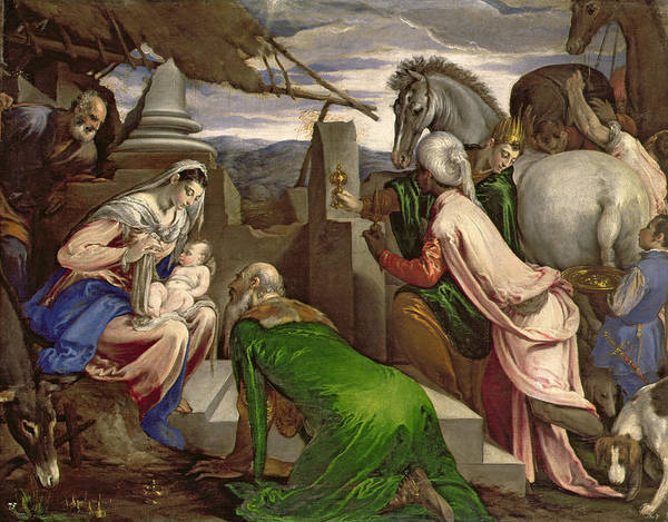 Wall Art - Painting - Adoration Of The Magi by Jacopo Bassano