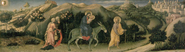 Wall Art - Photograph - Adoration Of The Magi Altarpiece; Central Predella Panel Depicting The Flight Into Egypt, 1423 by Gentile da Fabriano