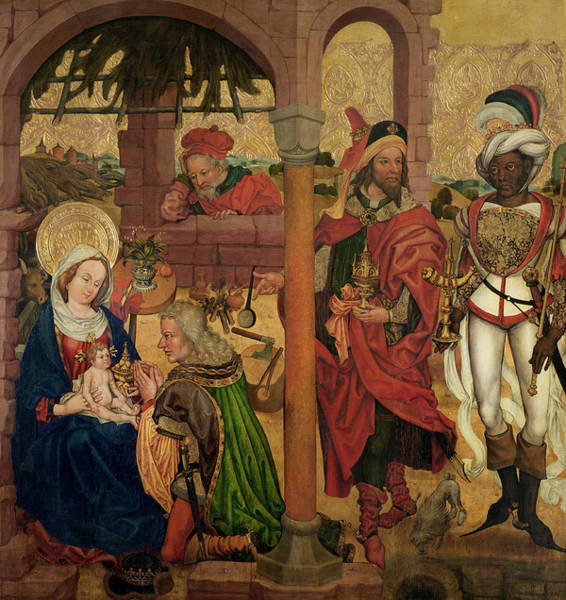 Mage Wall Art - Photograph - Adoration Of The Magi, C.1475 Oil On Panel by Martin Schongauer
