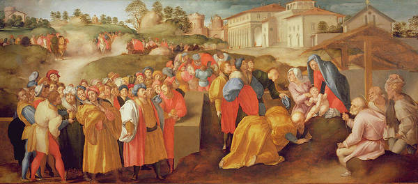 Wall Art - Photograph - Adoration Of The Magi, Known As The Benintendi Epiphany Oil On Panel by Jacopo Pontormo