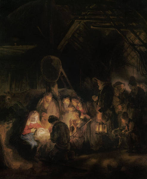 Shepherds Photograph - Adoration Of The Shepherds, 1646 Oil On Canvas by Rembrandt Harmensz. van Rijn