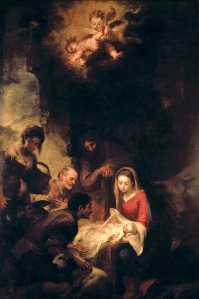 Kneeling Painting - Adoration Of The Shepherds by Bartolome Esteban Murillo