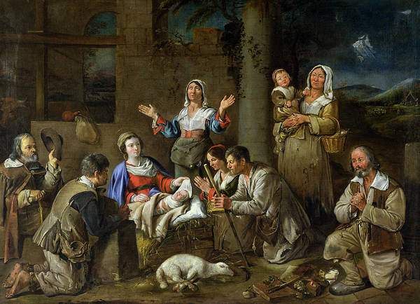 Wall Art - Painting - Adoration Of The Shepherds by Jean Michelin