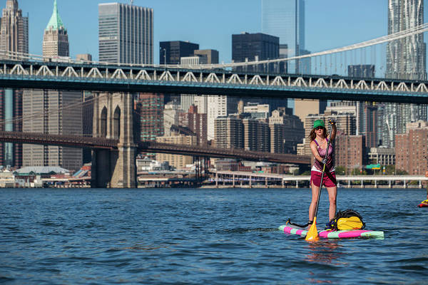 Standup Paddleboard Photograph - Adult Woman Paddle Boarding On East by Ryan Salm Photography