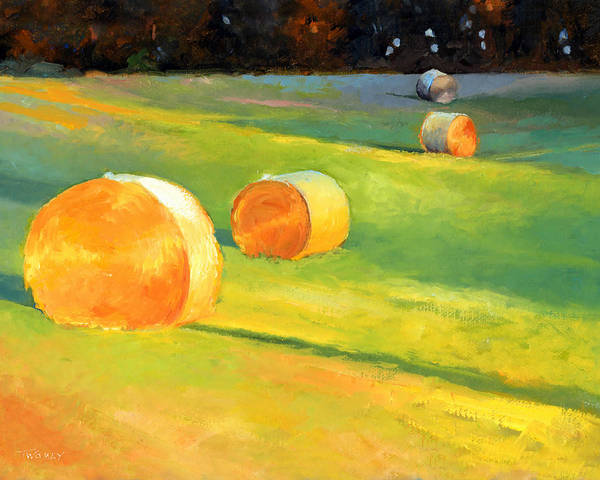 Hay Bale Wall Art - Painting - Advance Mills Hall Bales by Catherine Twomey