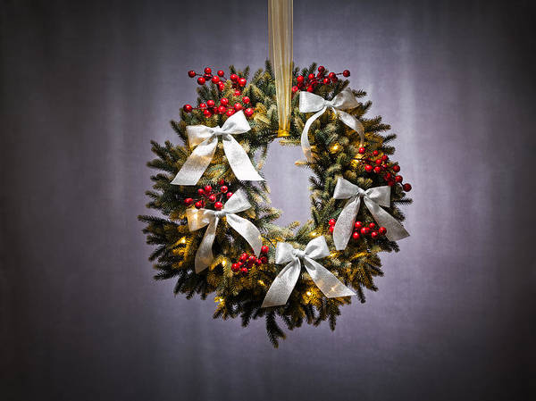 Photograph - Advent Wreath Over Silver Background by U Schade