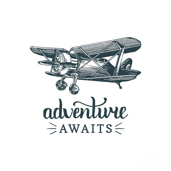 Typographic Wall Art - Digital Art - Adventure Awaits Motivational Quote by Vlada Young