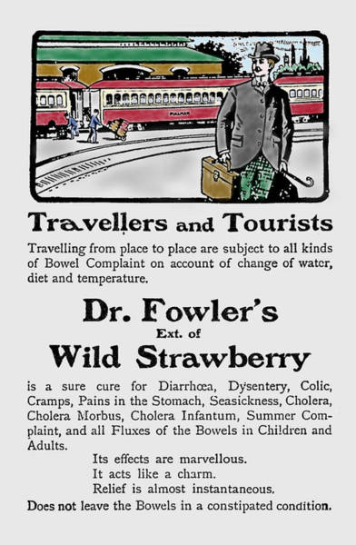 Photograph - Advert Dr Fowlers Extract Of Wild Strawberry by Richard Reeve