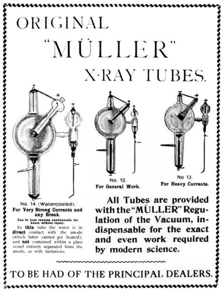 Diagnosis Wall Art - Photograph - Advertisement Describing Muller X-ray Tubes by Science Photo Library