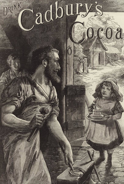 Blacksmith Wall Art - Drawing - Advertisement For Cadburys Drinking Cocoa by English School