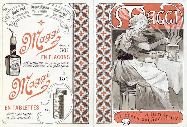 Assistance Painting - Advertisement For Maggi, Late 19th Century Colour Litho by Alphonse Marie Mucha