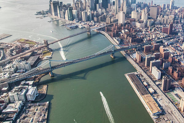 Awe Photograph - Aerial Image Of Bridges Entering Lower by Brett Beyer