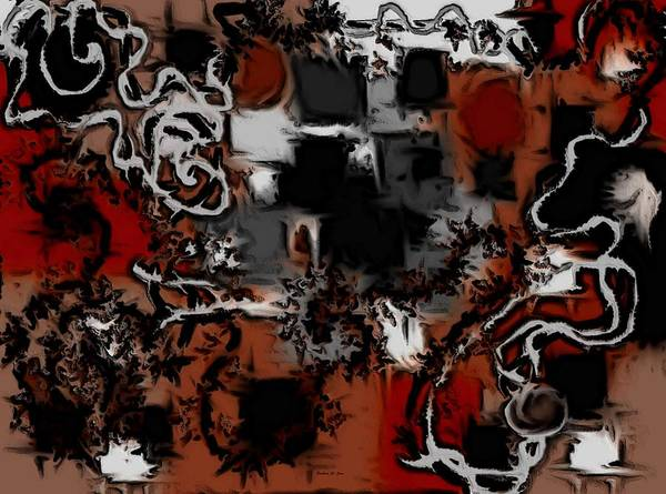Digital Art - Aerial Map Abstract In Red by Barbara St Jean