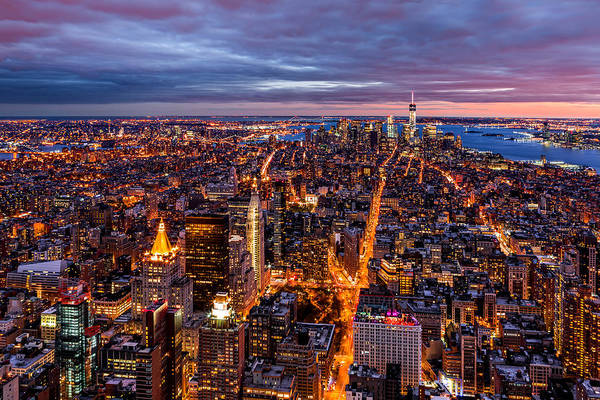 Photograph - Aerial New York City At Dusk by Mihai Andritoiu