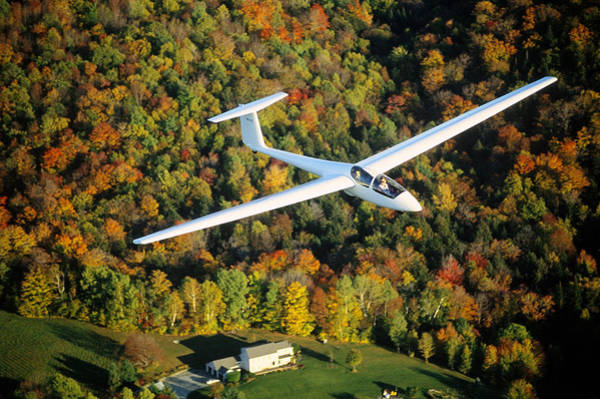 Wall Art - Photograph - Aerial Of A Glider Cruising Over Autumn by Joseph Sohm