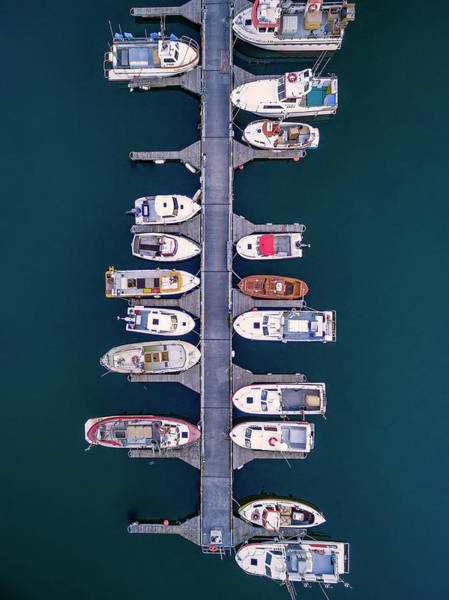 Luxury Yacht Photograph - Aerial Of Boats, Hafnarfjordur, Iceland by Arctic-images