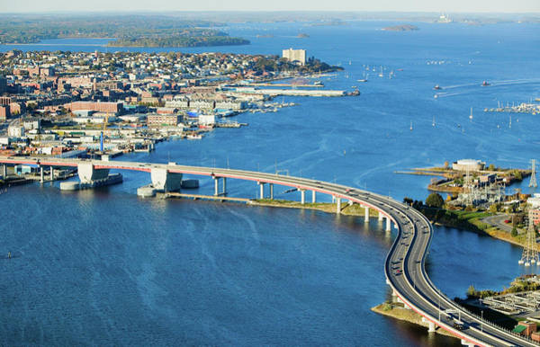 Casco Bay Photograph - Aerial Of Downtown Portland, Maine by Panoramic Images