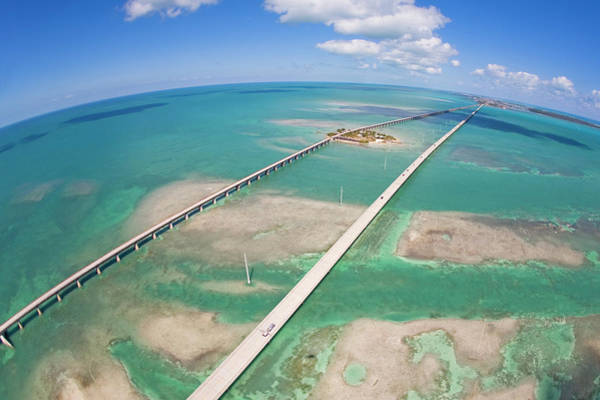 Wall Art - Photograph - Aerial Of Seven Mile Bridge At Extreme by Mike Theiss