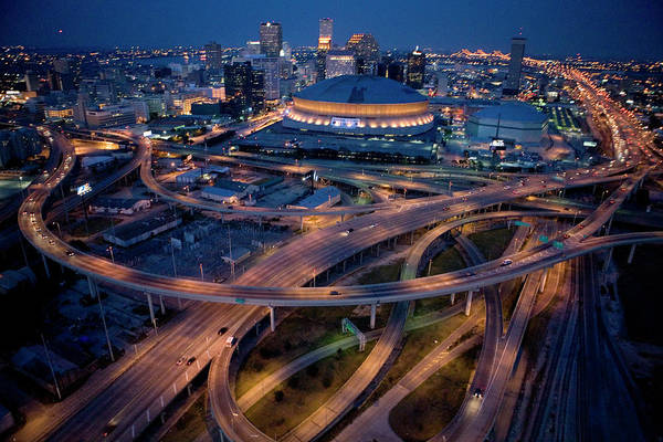 Photograph - Aerial Of The Superdome In The Downtown by Tyrone Turner