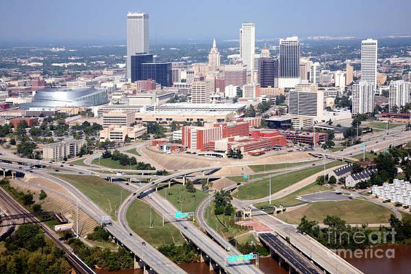 I-75 Photograph - Aerial Of Tulsa Oklahoma Skyline by Bill Cobb