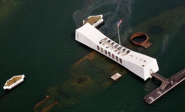 Uss Arizona Wall Art - Photograph - Aerial Of Uss Arizona Memorial Over by Lynn Gail