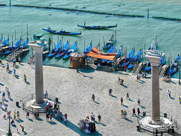 Lion Of St Mark Photograph - Aerial Of Venice Columns by Jennie Breeze
