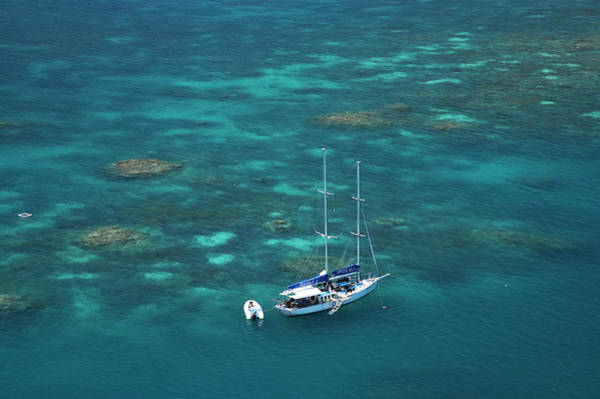 Reef Photograph - Aerial Of Yacht And Reef In Great by David Wall Photo