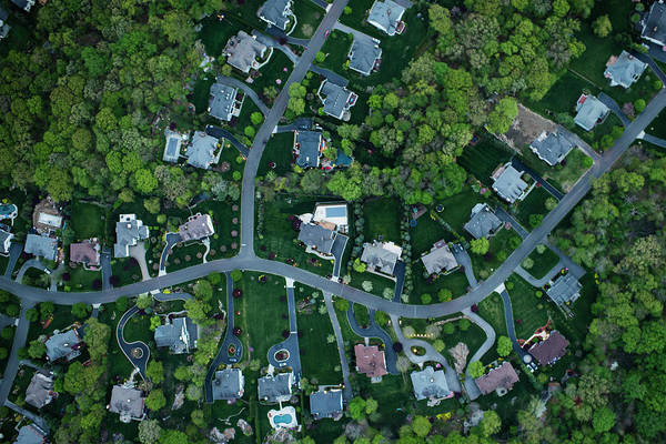 Suburbs Photograph - Aerial Photography Of Suburbs, Ny by Michael H