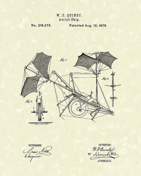 Drawing - Aerial Ship 1879 Patent Art by Prior Art Design