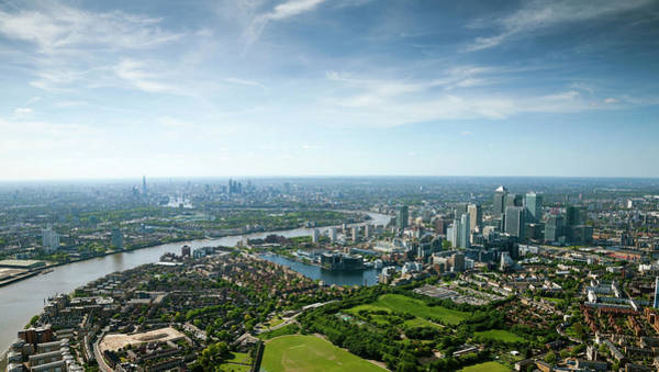 Canary Wharf Photograph - Aerial Shot Of Canary Whark And by Michael Dunning