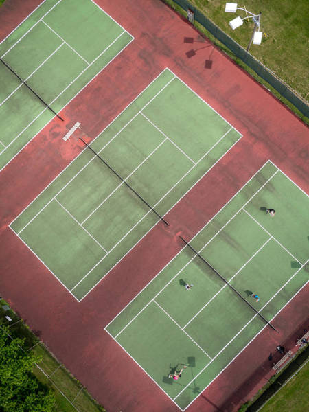 Photograph - Aerial Straight Down View Of Tennis Courts by Rob Huntley