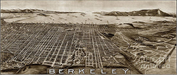 Photograph - Aerial View Berkeley California 1909 by California Views Archives Mr Pat Hathaway Archives
