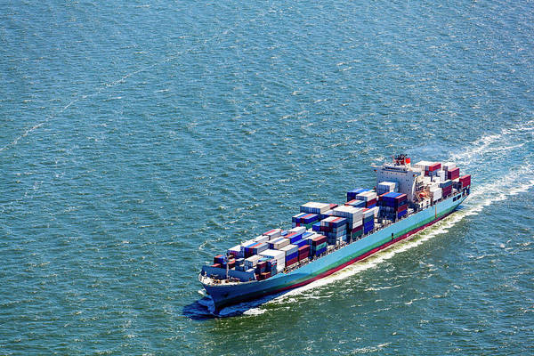 Freight Transport Wall Art - Photograph - Aerial View Of A Container Ship by Opla