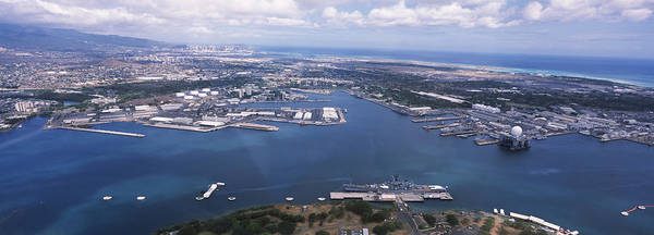 Uss Arizona Wall Art - Photograph - Aerial View Of A Harbor, Pearl Harbor by Panoramic Images