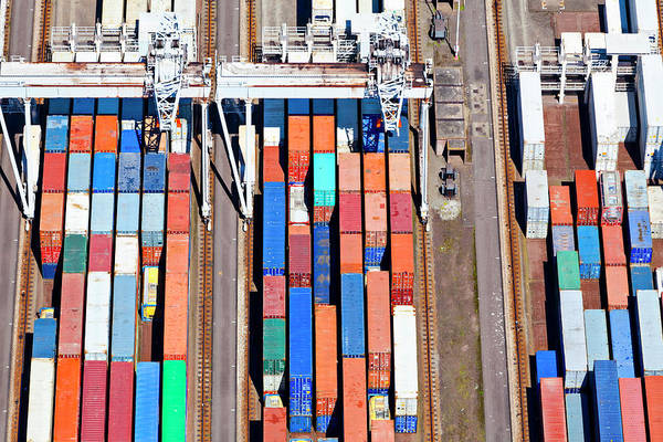 Freight Transport Wall Art - Photograph - Aerial View Of A Large Container by Opla